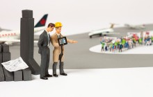 Flughafen mit Streikenden